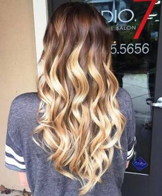 long wavy dark to light brown ombre hair