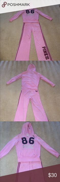 """Victoria Secret Pink 2 Pc Sweatsuit Victoria Secret Pink 2 Pc Set. Includes cotton Hoodie and Velour Pants. Size Medium hoodie and Medium pants. Well worn. Does show signs of wear on the word """"Pink"""" on the Hoodie. Small staining on pant. Super warm and comfy. Feel free to make an offer. Thanks for browsing! PINK Pants Track Pants & Joggers"""