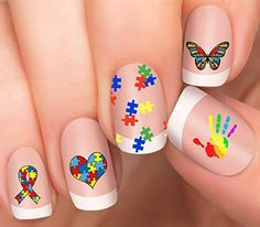 Autism Ribbon Heart Autism Awareness Design #2 Nail Art N...