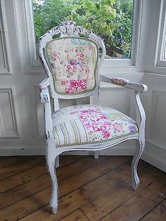 Stunning Shabby Chic 'Lavender Patchwork & Letters' French Louis Carver Chair on eBay!