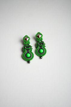 neon green and studs soutache earrings