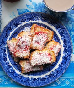 A family favourite, taken from an old Be-Ro cookbook; these simple cake and jam sandwiches have coconut sprinkled over them and make a perfect tea time treat for all the family, as well as being a welcome addition to the school or work lunch-box Unique Recipes, My Recipes, Cake Recipes, Favorite Recipes, Jam And Coconut Cake, Jam Sandwiches, Great British Bake Off, Seasonal Food, Tea Time