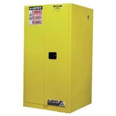 Justrite Sure-Grip EX Standard Safety Cabinet, 34 inch x 34 inch x 65 inch, Yellow
