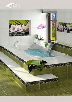 Фотоплитка с цветами для ванной комнаты.