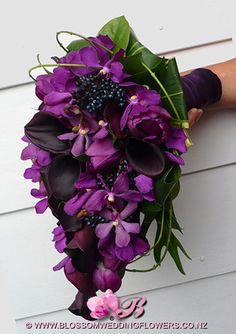 AL - note to florist: I like the way this bouquet hangs. also like the mix of dark purples - purple bouquet Purple Orchid Wedding, Orchid Bouquet Wedding, Calla Lily Bouquet, Purple Orchids, Purple Flowers, Tulip Bouquet, Boquet, Bouquet Flowers, Pretty Flowers