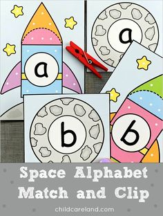 Space alphabet match and clip for letter recognition and fine motor development skills. Early Learning Activities, Preschool Art Activities, Classroom Activities, Kindergarten Prep, Letter Recognition, Fine Motor, Alphabet, Clip Art, Space