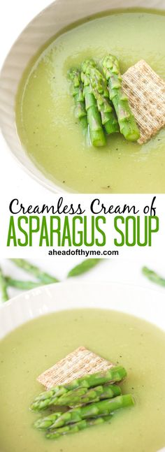 Take advantage of in-season asparagus this spring and savour its flavour in a delicious and smooth, creamless cream of asparagus soup. Creamed Asparagus, Asparagus Recipe, Asparagus Soup Vegan, Best Cream Of Asparagus Soup Recipe, Soup Recipes, Dinner Recipes, Cooking Recipes, Cream Recipes, Salad