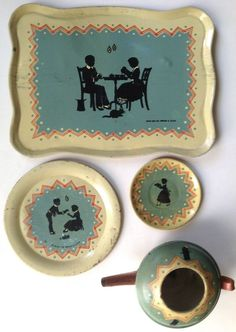 """Vintage 1937 Ohio Art tin litho child's toy tea set """"Blue Silhouettes"""" #OhioArt"""