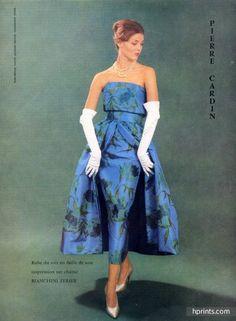 Pierre Cardin (Couture) 1959 Photo Jacques Decaux, Bianchini Férier, Evening Gown