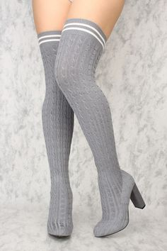 Buy Sexy Grey Chunky High Heels Thigh High Heels Knit with cheap price and high quality Boots stores which offers Boots,women's winter boots,high heel boots,over the knee boots,suede boots shoes,womens sexy boots,thigh high boots,gladiator boots,platform