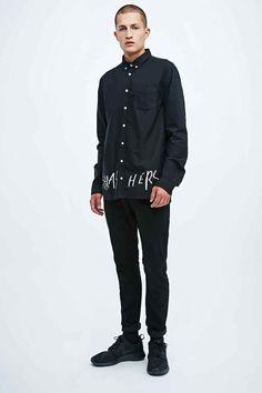 Libertine-Libertine Hunter Thrasher Text Shirt in Black