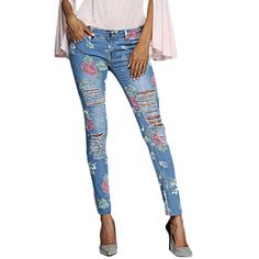 17$  Buy now - http://dik5x.justgood.pw/go.php?t=198696301 - Chic Mid Waist Floral Print Frayed Skinny Women Jeans