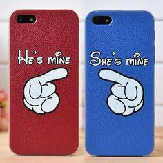 His and Hers Unique Couples iPhone 5S 5 4S Covers for 2- would be cute if the were boughten in disney world