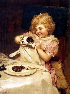 Arthur John Elsley - Plum pudding wait a minute Vintage Dog, Vintage Children, Vintage Images, Vintage Artwork, Vintage Cards, Victorian Paintings, Victorian Art, Dogs And Kids, Animals For Kids