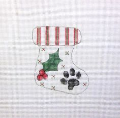 Christmas Stocking w/Doggy Paw & Holly  by MarsyesNPCanvas on Etsy
