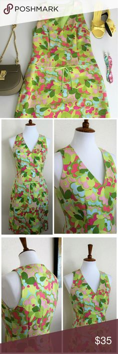 """Sigrid Olsen 60's inspired dress Retro 60's inspired floral v-neck Sigrid Olsen dress in fun, flirty green and pink floral design with trim detailing on hip to really accentuate that 60's vibe with a modern look.  Fully lined, 100% cotton.   Measurements: Length: 36"""", Bust: approx 26"""" laying flat, Waist: approx 14"""" laying flat. Sigrid Olsen Dresses Midi"""