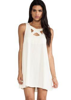 White Sleeveless Hollow Backless Loose Dress