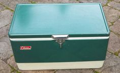 Vintage Metal Coleman Cooler Ice Chest Green