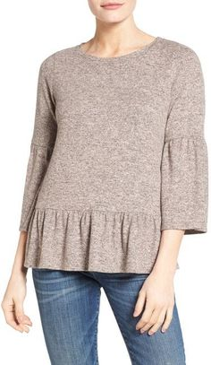 Gibson Cozy Fleece Peplum Top (Regular & Petite)