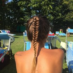Ponytail with fishtail #braid