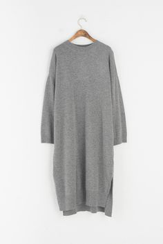 Slit Side Round Neck Lambs Wool Knit Dress, Grey