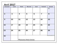 Gratuit ! Calendriers pour avril 2017 à imprimer - Canada