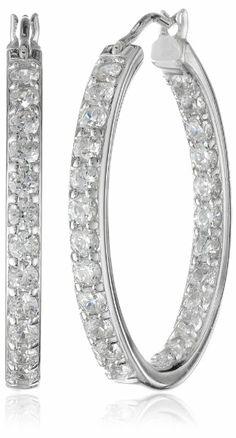 Sterling Silver Swarovski Zirconia 1 inch Round Hoop Earrings