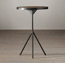 Elm & Iron Tripod Side Table