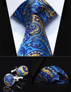 Why we love NeckTie - Driss? First, we love sets and this one includes neck tie, cufflinks and pocket square. This set looks like the deep ocean, unpredictable and surprising. The golden design highli