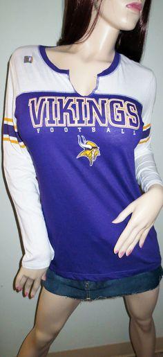 Minnesota Vikings Football Split V Neck Long Sleeve T Shirt Purple White  Large Nfl Apparel 53ded9eb7