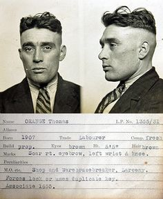 Not-so-close shave for Thomas Orange: 'His crime, Shop and warehouse breaker' Style Gangster, Vintage Photographs, Vintage Photos, Antique Photos, Vintage Stuff, Mafia, Vintage Magazine, Pulp, Peaky Blinders