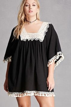 Forever 21+ - A cotton gauze tunic by Velzera™ featuring a square neckline and back with contrast crochet trim, short kimono sleeves, tasseled geo embroidered trim, and a billowy swing silhouette.