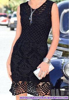 TRICO y CROCHET-madona-mía: Vestido Negro a crochet con padrón y esquema de puntos