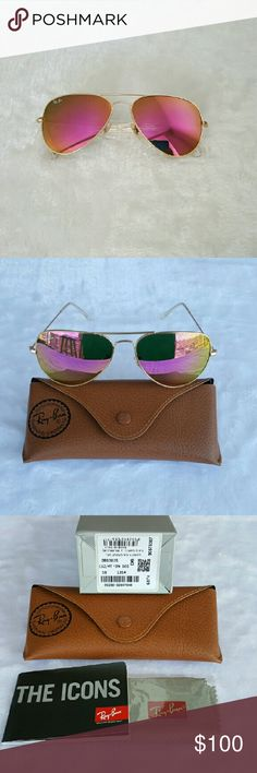 Ray-Ban 3025 Aviator Pink Sunnies NWT Unisex Please No offers through comments ❌NO TRADES! ❌NON POLARIZED  Same/next day shipping  100% Brand New & Authentic   RB3025 112/4T  AVIATOR FLASH LENSES  Lens Color: Pink Flash Lenses  What's included Ray Ban Sunglasses Ray Ban Case Ray Ban Cloth   All my rayban sunglasses come from a luxottica authorized distributor  100% Authentic Genuine Rayban Sunglasses Ray-Ban Accessories Sunglasses
