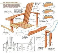 DIY Adirondack Chair - Outdoor Furniture Plans and Projects - Woodwork, Woodworking, Woodworking Plans, Woodworking Projects Woodworking Furniture, Furniture Plans, Woodworking Projects Plans, Teds Woodworking, Wood Furniture, Woodworking Patterns, Woodworking Workshop, Recycled Furniture, Woodworking Videos