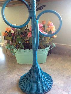 Teal Wicker Towel Rack -Rattan -Bathroom... | Wicker Furniture  wickerparadise.com