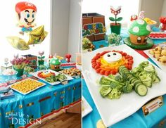 Boys mario Bros Video Game Birthday party veggie food ideas