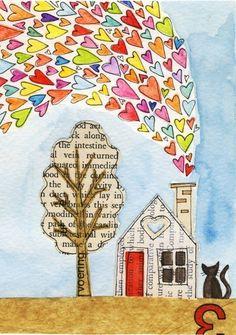 Mixed media old book pages, old books, cute art, guache, heart art Art Journal Pages, Art Journals, Art Altéré, Arte Elemental, Art Du Collage, Art Mignon, Art Carte, Illustration, Art Journal Inspiration