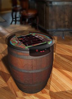 Arcade Controls forum member Joel Griffin Dodd constructed this wonderful customized Donkey Kong tabletop arcade machine. Donkey Kong, Wine Barrel Table, Wine Table, Wine Barrels, Arcade Table, Arcade Room, Gaming Lounge, Retro Arcade Games, Bar Games