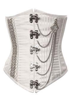 Brocade white steampunk corset underbust