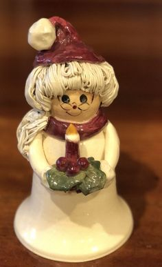 Rare NC Piney Woods Pottery Mrs. Santa Claus Candle Holly  2003 Collection JGM  #WHIMSICAL