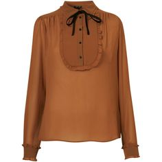 Longsleeve Bib Tie Blouse ($72) ❤ liked on Polyvore featuring tops, blouses, shirts, camel, long sleeve top, tie collar blouse, ruffle collar blouse, long sleeve shirts, long sleeve ruffle blouse and brown shirts