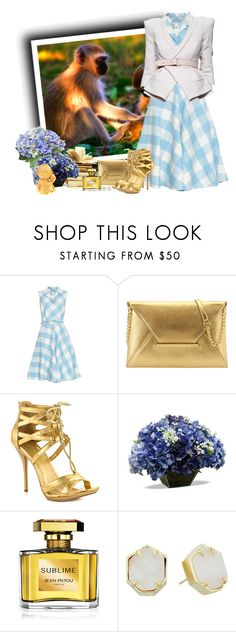 """Ano do Macaco"" by sil-engler ❤ liked on Polyvore featuring Oscar de la Renta, Nine West, Shoe Republic LA, Jean Patou and Kendra Scott"