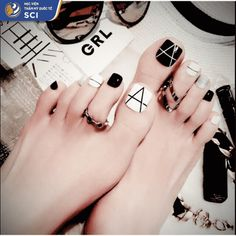black white toe nails short false nail art diy tool for summer holiday finger -