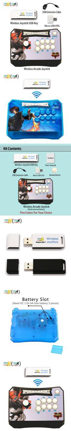New Zero delay Pandora's Box Wireless Arcade Joystick + Wireless Joystick USB-Key Set control XBOX360 /PS3/PC/ Android Raspberry