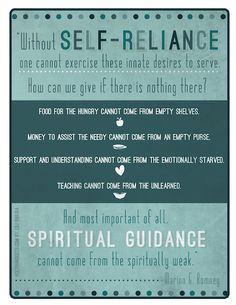 Self-Reliance... how can we give if there is nothing there?