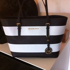 Michael Kors black and white stripes #Michael #Kors ❤️ added to the collection!!