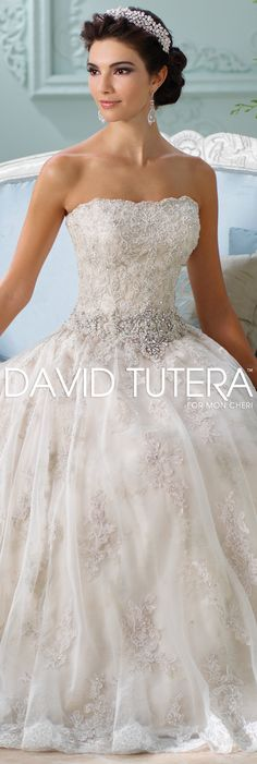 The David Tutera for Mon Cheri Spring 2016 Wedding Gown Collection - Style No. 116230 Jelena #laceandtulleweddingdress