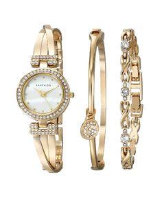 Anne Klein Women's Swarovski Crystal-Accented Gold-Tone Bangle Watch and Bracelet Set - Jewelry Springs Bangle Box, Bracelet Box, Bracelet Watch, Anne Klein Watch, Jewelry Clasps, Valentines Gifts For Her, Watch Brands, Quartz Watch, Bangles