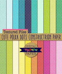 Polka Dot Textured Digital Paper, Construction Paper Texture, INSTANT DOWNLOAD, commercial use, bright colors    Feed your stash with these cute